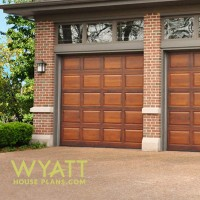 Windermere garage, two-car garage, house plan, wood garage doors, transom windows, brick garage