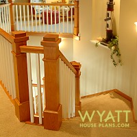 Welland staircase, balcony, handrail, angles, floor plan, built-in display niche, vaulted ceiling, sitting area